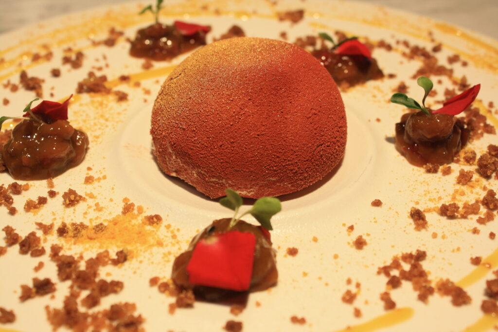 Entremet di frutta esotica con chutney dolce ai due peperoncini Rocoto e Aji Amarillo